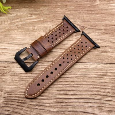 38mm 42mm Premium Genuine Leather Watch Band with Stainless Metal Buckle for Apple iWatch Breathable Replacement Strap