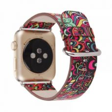 For Apple iWatch Replacement Strap 38-42 mm, Premium Totem Leather Band with Stainless Metal Buckle for Apple iWatch