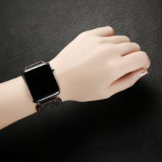 Retro Genuine Leather Double Watch Band with Double Stainless Metal Buckle, Compatible with Apple iWatch 38mm 42mm