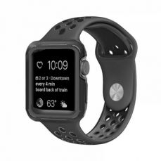 Superior Silicone Watch Band with Protective Screen Case for Apple iWatch Breathable Replacement Strap with Screen Protector 38mm 42mm