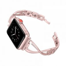 Premium Stainless Steel Band Compatible with Apple Watch Strap 38mm 40mm 42mm 44mm Women Stainless Steel Watch Band with Diamond