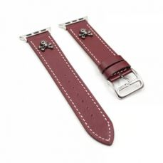 Handmade 38mm 42mm Premium Leather Watch Band with Metal Punk Trinket, Stainless Metal Buckle for Apple iWatch Breathable Replacement Strap