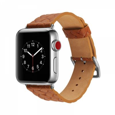 Genuine Leather Watch Band with Stainless Metal Buckle for Apple iWatch, Superior Weave Surface Real Leather iWatch Replacement Strap 38mm 42mm