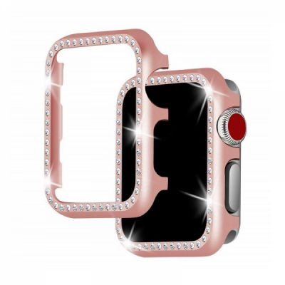 Aluminum Protective Cover with Sparkle Crystal Diamond Compatible with Apple iWatch, Hard Shell Anti-impact Anti-Scratch Case for Apple iWatch Protective Frame 38mm 42mm