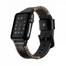 For Apple iWatch Handmade Replacement Strap 38mm 42mm, Premium Genuine Leather First Layer Cow Leather Watch Band with Aluminum Buckle