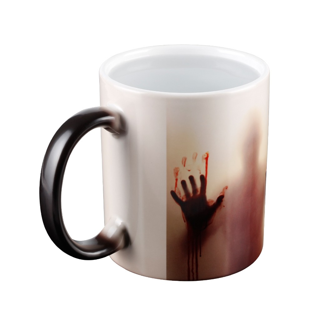 Heat Sensitive Color Changing Porcelain Coffee Mug, Superior Ceramic Coffee Mug, Halloween Gift Fear Zombie Trick or Treat Present
