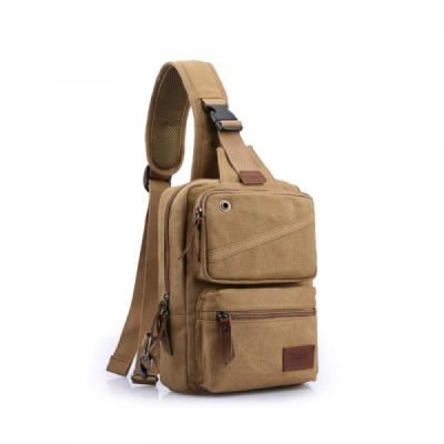 Vintage Multipurpose Men's Crossbody Bag, Breathable Large Capacity Backpack with Headphone Port