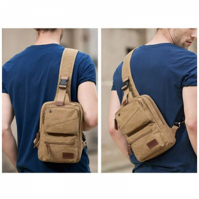 Vintage Durable Multipurpose Men's Crossbody Bag Breathable Large Capacity Backpack with Headphone Port Stainless Metal Buckle