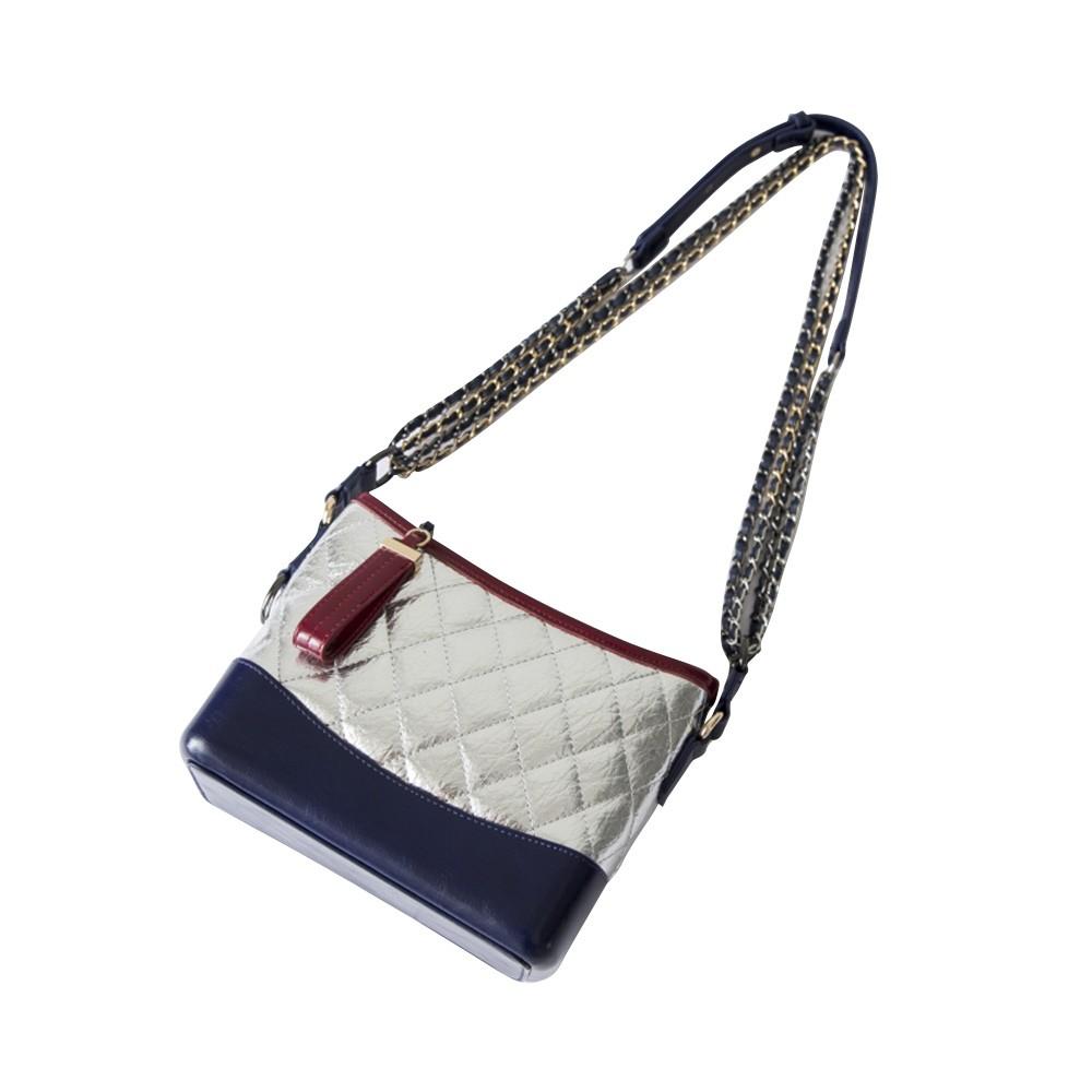 Luxurious Ling Plaid Leather Handbag Women's Party Shoulder Bag, Premium Sleek Leather Crossbody Bag with Adjustable Metal Shoulder Strap