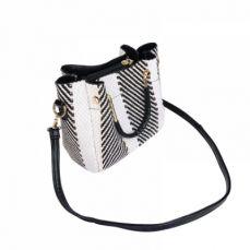 Sleek Color Blocking Weave Crossbody Bag with Long Shoulder Strap for Girls Fashionable Women's Handbag Shoulder Bag