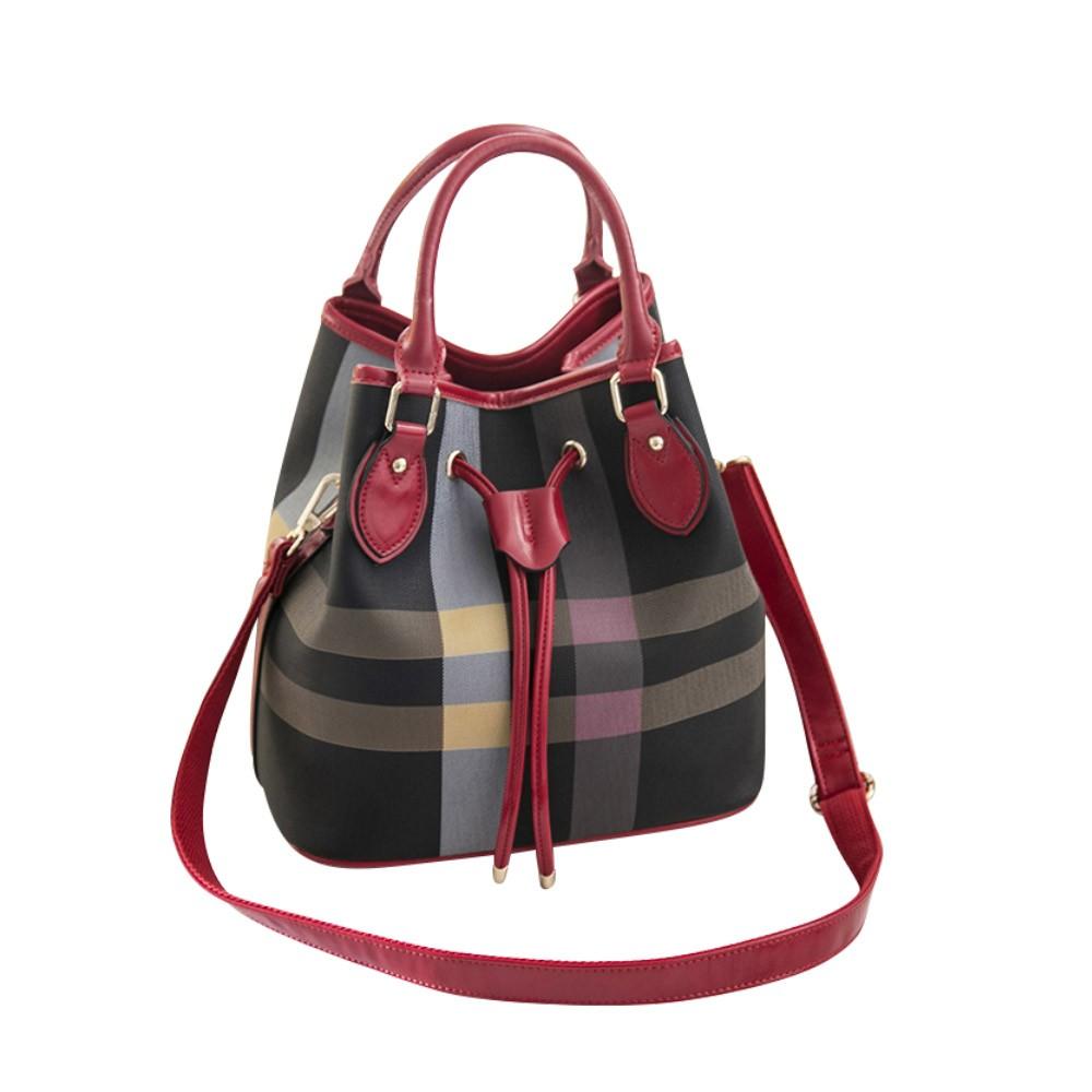 Fashionable Color Blocking Women's Handbag with Attachable Shoulder Strap Elegant Grid Shoulder Bag for Business Traveling Shopping Party Dating