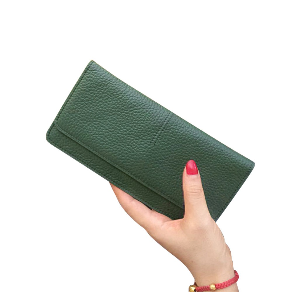 Women's Wallet with Multiple Compartments Card Slots Zipper Pocket, Lightweight Slim Sleek Women's Purse Grain Texture Soft Vintage Purse