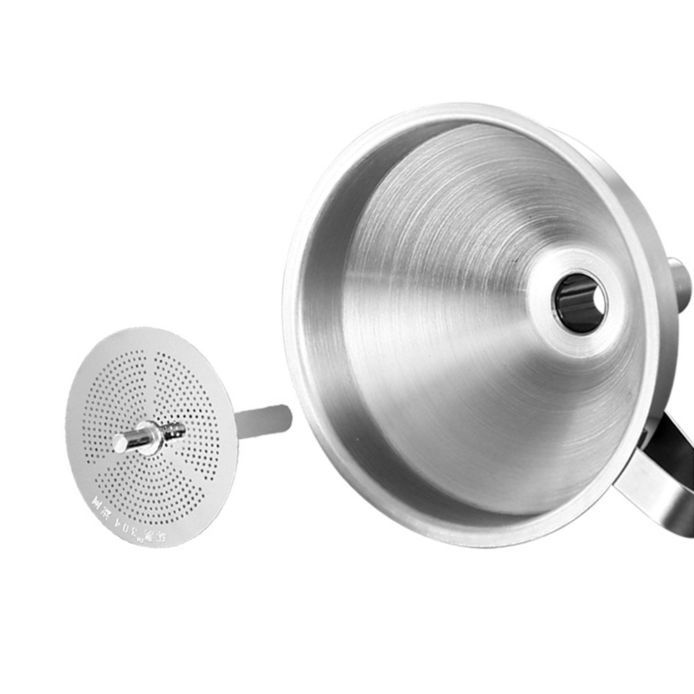 Stainless Steel Funnel with Filter Net, Kitchen Gadget Food Grade Liquid Transfer Hanging Funnel with Removable Strainer, Dishwasher Safe