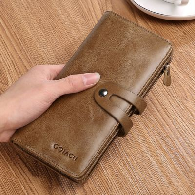 Retro Genuine Leather Men's Wallet with Metal Snap Zipper Pocket, Durable Antiwear Multiple Card Slots Universal Men's Clutch