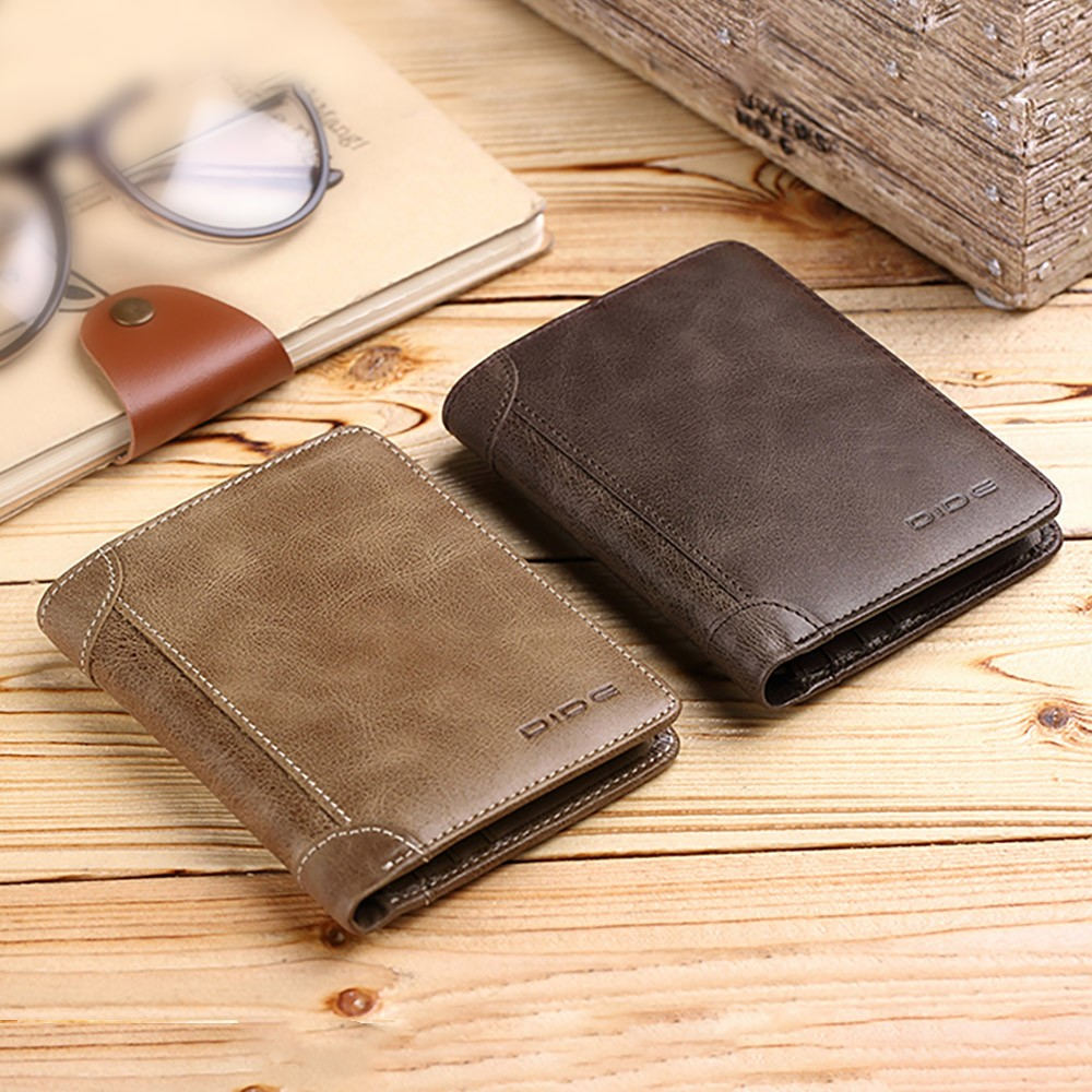 Handmade Folio Genuine Leather Men's Wallet, Durable Foldable First Layer Leather Wallet with Multiple Compartments for Driver License ID Card Receipt Cash Coins