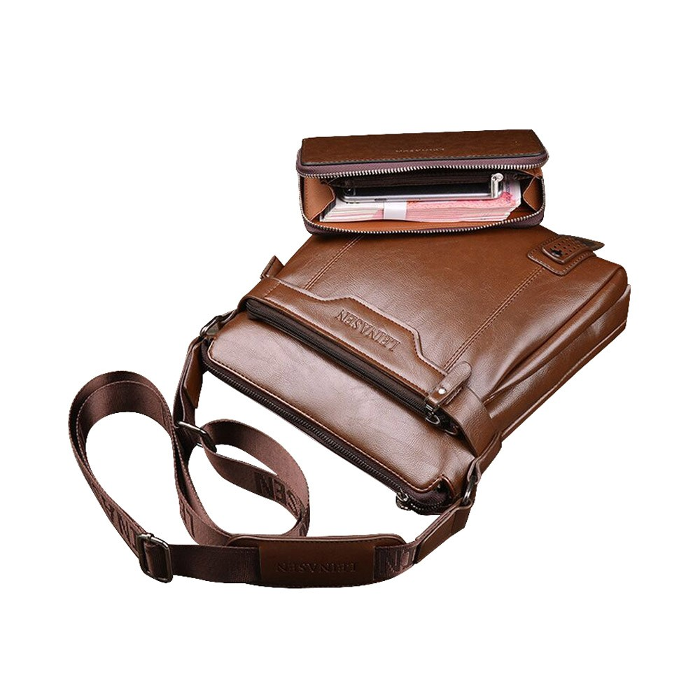 Business Man Leather Shoulder Bag Luxurious Briefcase, Multipurpose Large Capacity Men's Handbag with Clutch Widen Strap Multiple Compartments