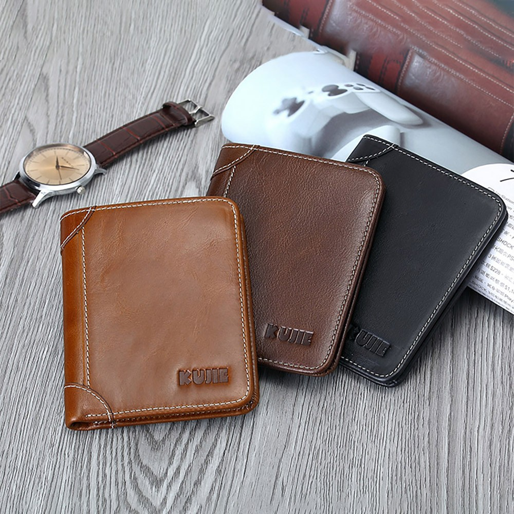 Handmade Men's Wallet Durable & Lightweight, Thin Oil Wax Genuine Leather Men's Folio Purse with Photo Frame for Driver License, Receipts, ID Card, Coins, and Cash
