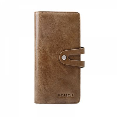 Retro Genuine Leather Men's Wallet with Metal Snap Zipper Pocket, Durable Antiwear Multiple Card Slots Universal Men's Clutch