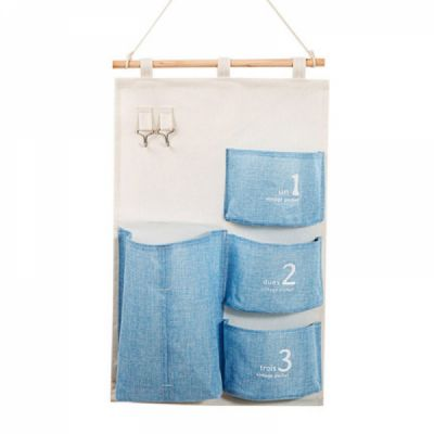 Waterproof Cotton Hanging Organizer Bag Compatible with Bathroom Bedroom Kitchen Wall Mounted Moistureproof Durable Storage Pockets
