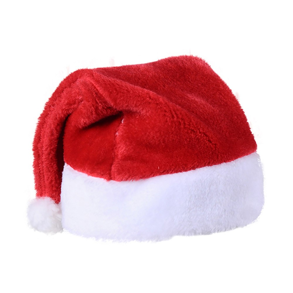 Santa Claus Cap Nontoxic and Tasteless Thickened Short Plush Fabric Christmas Hat, Necessary Accessories Ornament Luxurious Christmas Santa Hat