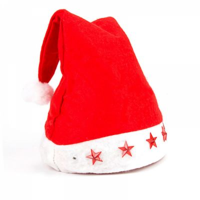 Christmas Hat With Lights - Traditional Christmas Hat Red & White, Christmas Accessory Santa Claus Cap Xmas Hat