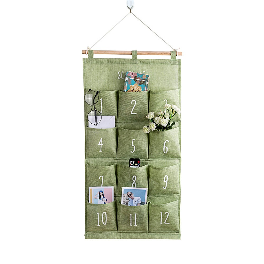 Cotton Wall Mounted Organizer Bag for Bathroom Bedroom Kitchen, Universal Waterproof Moistureproof Storage Pockets