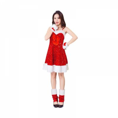 Girls Christmas Skip Dress, Luxurious Paillette Women Christmas Singlet Dress for Christmas Party, Cosplay, Family Gathering, Stage Performance