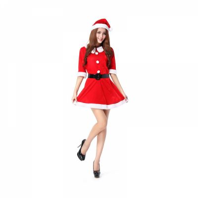 Women Christmas Costume, Lovely Luxurious Pleuche Girls Costome Dress with Christmas Cap & Waistband for Christmas Party Cosplay Party Family Gathering