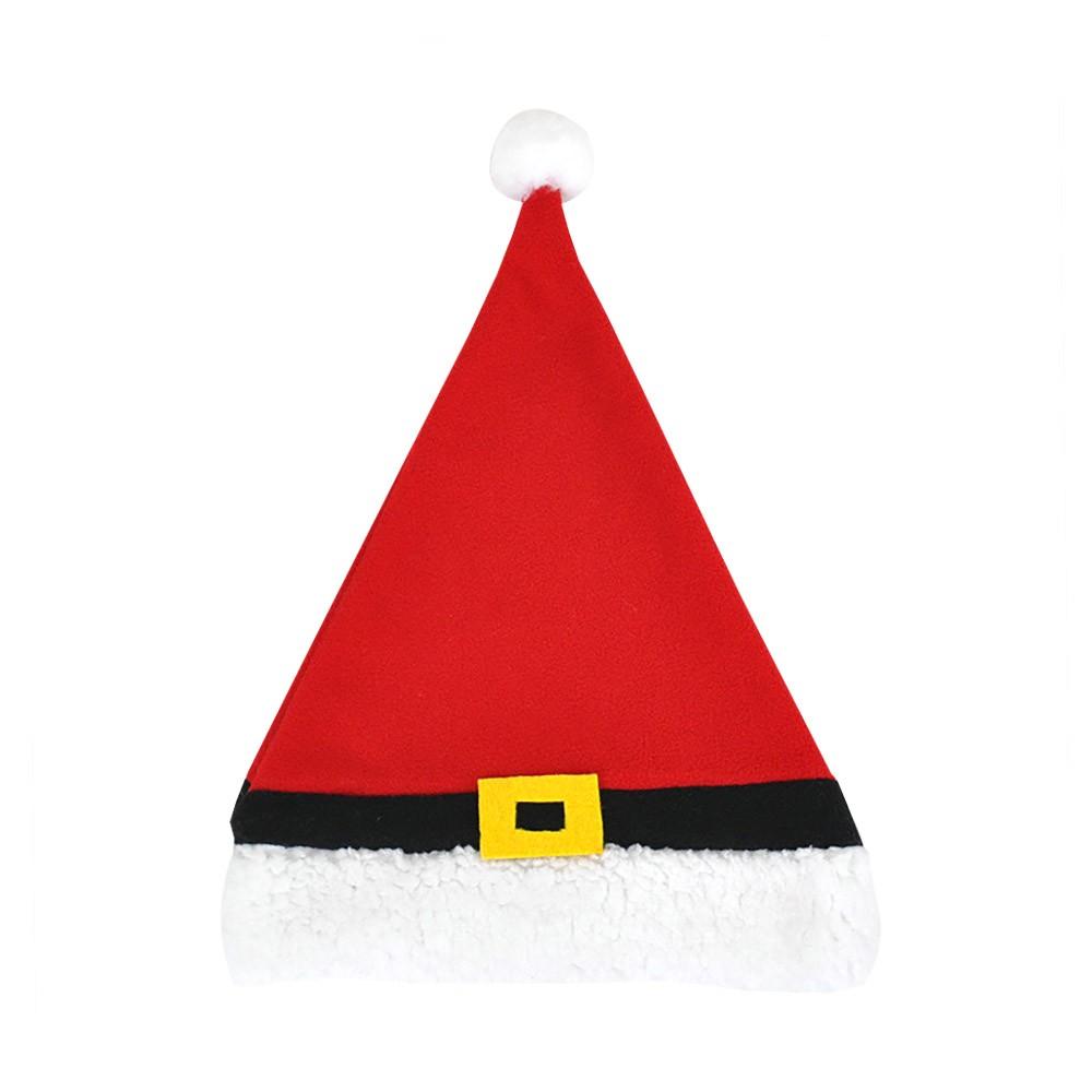 Christmas Hat Adult, Lovely Short Plush Santa Hat with Polar Fleece Fabric