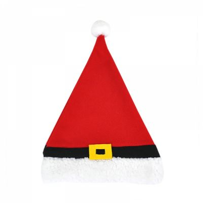 Christmas Hat Adult Lovely Short Plush Santa Hat with Polar Fleece Fabric