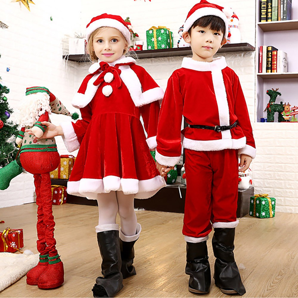 Children Christmas Costume Deluxe plush Christmas Suit for Christmas Party Cosplay Party Family Gathering Stage Performance Christmas Costume Set