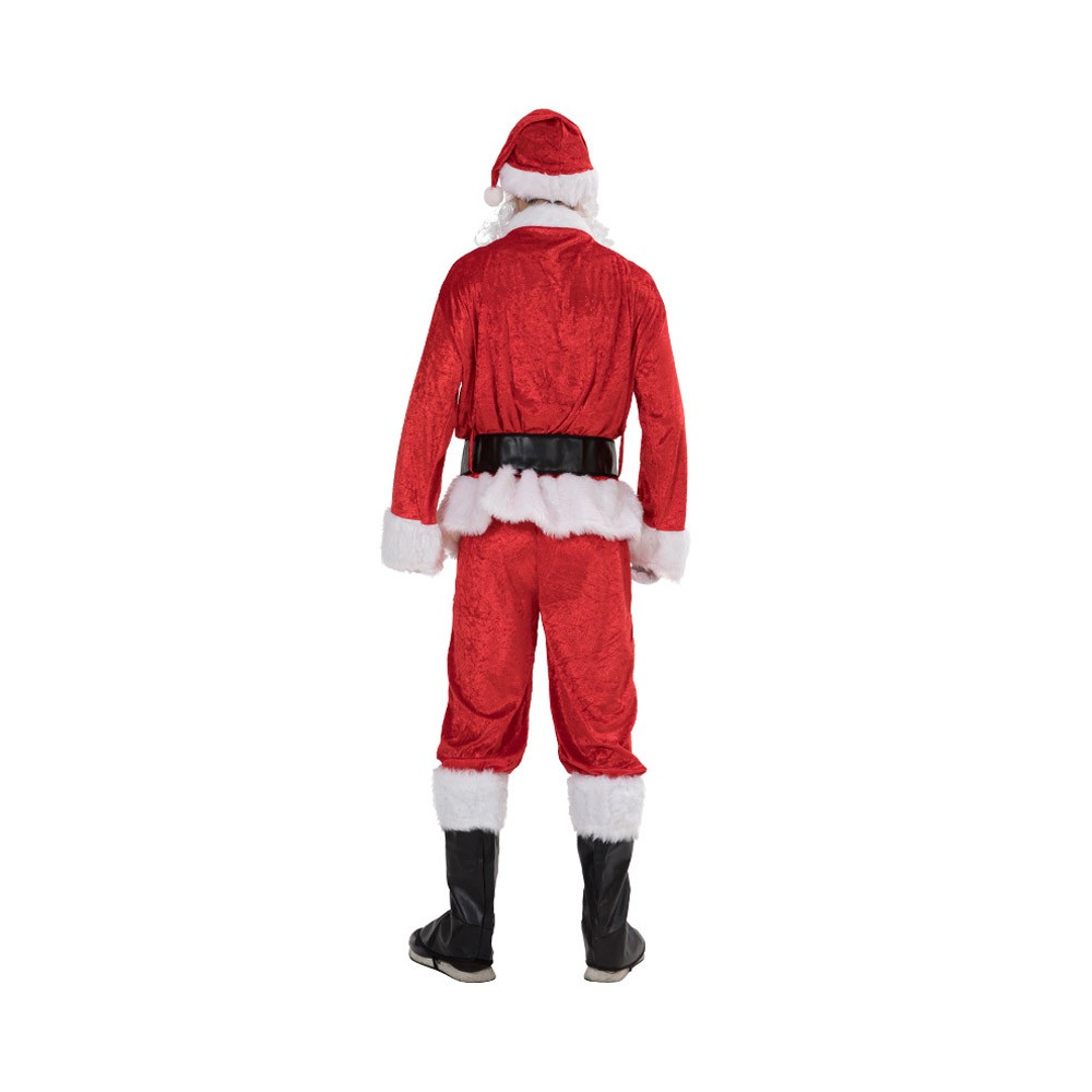 Christmas Costume Set Cap Tops Pants Buckled Waistband Black Boots Gloves Whiskers, 7 Pieces Adults Santa Claus Costume Set for Christmas Party Cosplay Party