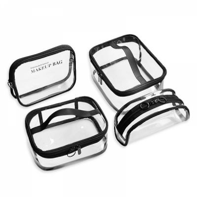 Transparent Makeup Bag Waterproof Cosmetic Bag, Portable Toiletry Bag Travel Hanging Organizer Bag for Women Girls