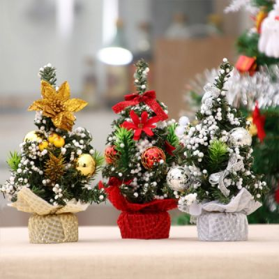 Santa Christmas Ornament Tree for Home Shop Hotel Office, 20cm Durable PVC Mini Desktop Decoration Christmas Tree with Bow Shiny Ball Flower