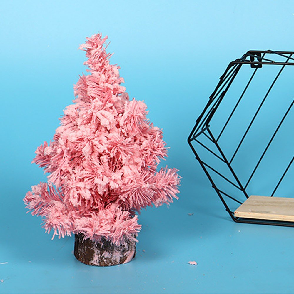 Pink Christmas Tree for Christmas Party Wedding Bedroom Desktop Decoration, Santa Tree Ornaments Luxurious Emulational Flocking Christmas Tree Stand