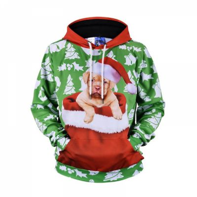 Men's Christmas Hoodies, Sublimation Polyester Funny Pug Christmas Sweater Shirts for Men, Non-fading Warm Dog Hoody