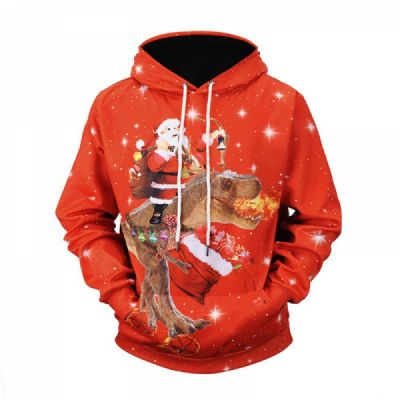 Christmas Hoodies for Adults, No Deform No Pilling Santa Claus Dinosaur Sweater Shirt, Breathable Polyester Christmas Men Pullover Hoody