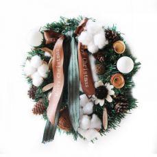 Hand-made Christmas Wreath for Front Door Window Chain Store School Office, Artificial Christmas Wreath Door Hanger Fresh Santa Wreath