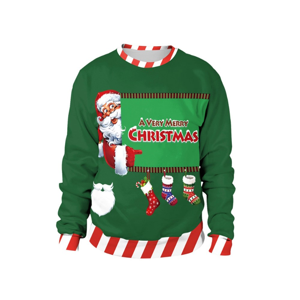 Christmas Sweater for Men Women, Durable Non-fading Sublimation Pullover Hoodies Santa Claus Pullover Hoody Heat Transfer Long Sleeve Shirts