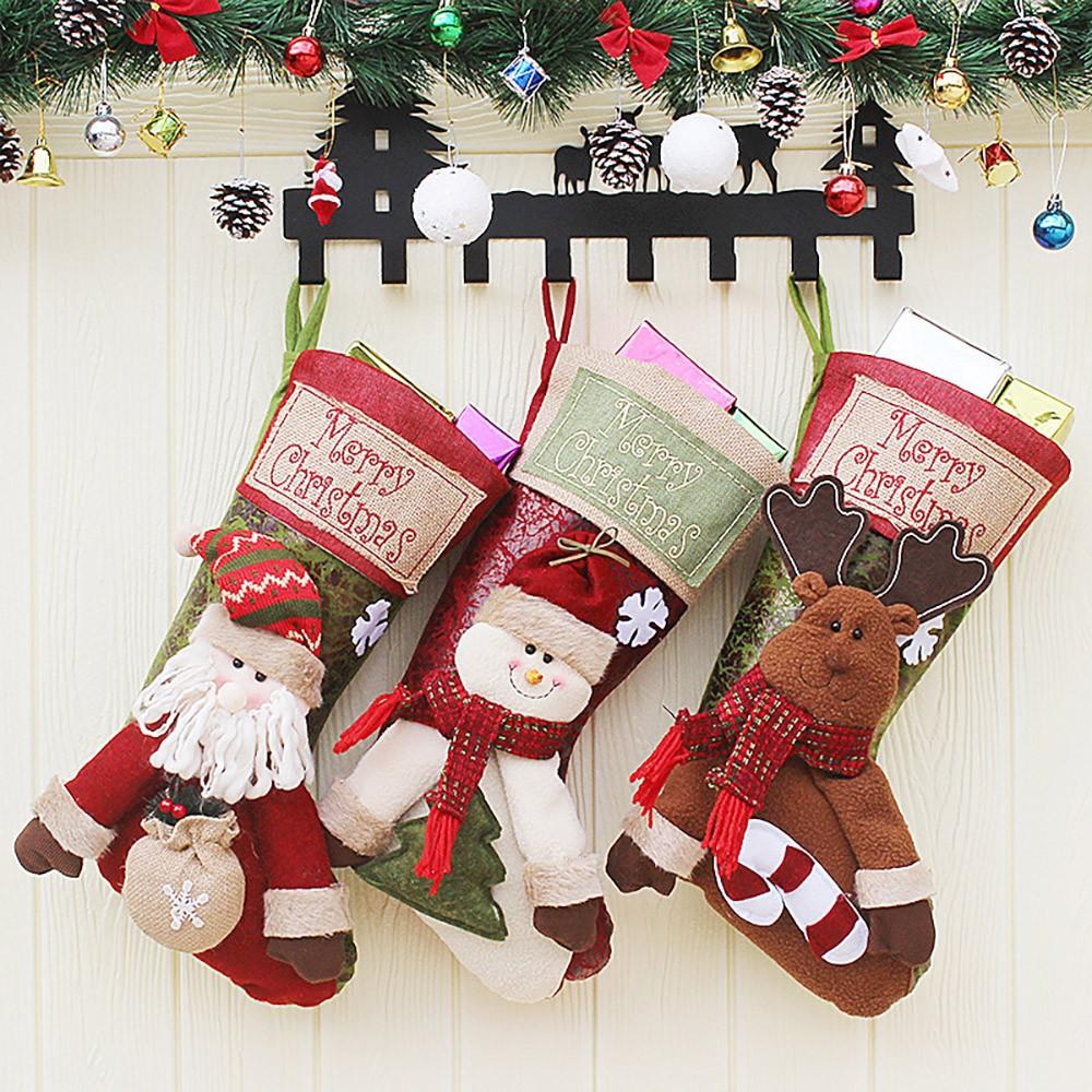 Big Size Hanging Christmas Gift Sock, New Arrival Santa Elk Snowman Kids Gift Bag Christmas Stockings