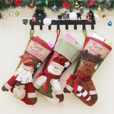 Big Size Hanging Christmas Gift Sock, New Arrival Santa Elk Snowman Kids Gift Bag Christmas Stockings