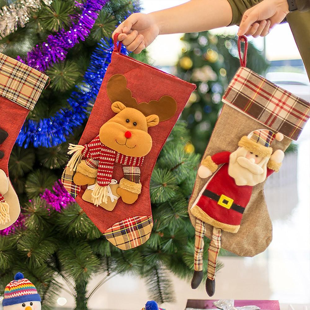 Christmas Decoration Socks Big Size, Gift Sack Plaids Santa Claus Reindeer Snowman Home Hanging Decor Children