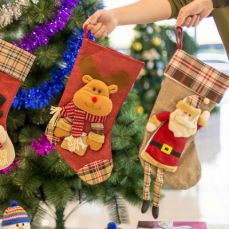Christmas Decoration Socks Big Size, Gift Sack Plaids Santa Claus Reindeer Snowman Home Hanging Decor Children